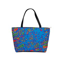 Colorful Neon Chaos Shoulder Handbags by Valentinaart