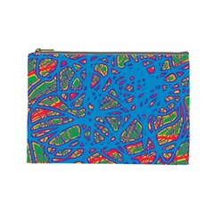 Colorful Neon Chaos Cosmetic Bag (large)  by Valentinaart