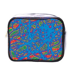 Colorful Neon Chaos Mini Toiletries Bags by Valentinaart
