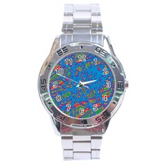 Colorful Neon Chaos Stainless Steel Analogue Watch by Valentinaart