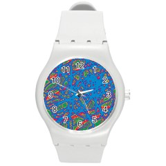 Colorful Neon Chaos Round Plastic Sport Watch (m) by Valentinaart