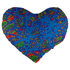 Colorful Neon Chaos Large 19  Premium Heart Shape Cushions by Valentinaart