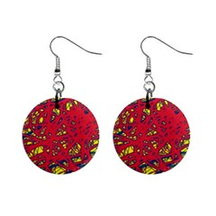 Yellow And Red Neon Design Mini Button Earrings by Valentinaart