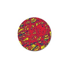 Yellow And Red Neon Design Golf Ball Marker by Valentinaart