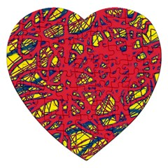 Yellow And Red Neon Design Jigsaw Puzzle (heart) by Valentinaart
