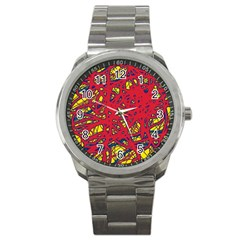 Yellow And Red Neon Design Sport Metal Watch by Valentinaart
