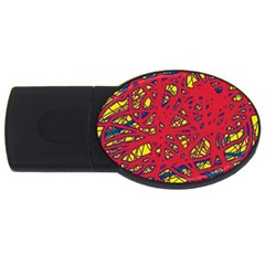 Yellow And Red Neon Design Usb Flash Drive Oval (4 Gb)  by Valentinaart