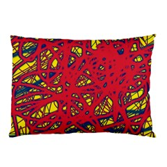 Yellow And Red Neon Design Pillow Case by Valentinaart