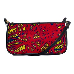 Yellow And Red Neon Design Shoulder Clutch Bags by Valentinaart