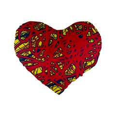 Yellow And Red Neon Design Standard 16  Premium Heart Shape Cushions by Valentinaart
