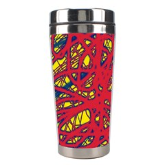 Yellow And Red Neon Design Stainless Steel Travel Tumblers by Valentinaart