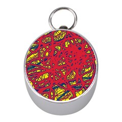 Yellow And Red Neon Design Mini Silver Compasses by Valentinaart