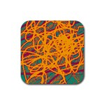 Orange neon chaos Rubber Square Coaster (4 pack)  Front