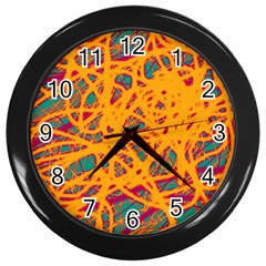 Orange Neon Chaos Wall Clocks (black) by Valentinaart