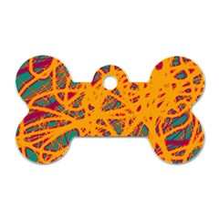 Orange Neon Chaos Dog Tag Bone (two Sides) by Valentinaart