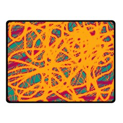 Orange Neon Chaos Fleece Blanket (small) by Valentinaart