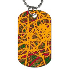 Yellow Neon Chaos Dog Tag (one Side) by Valentinaart