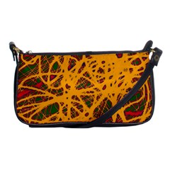 Yellow Neon Chaos Shoulder Clutch Bags by Valentinaart