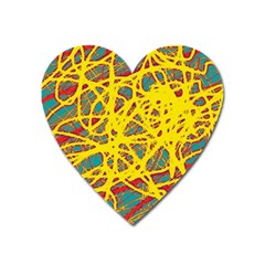 Yellow Neon Heart Magnet by Valentinaart