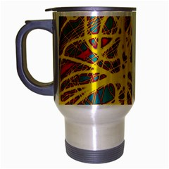 Yellow Neon Travel Mug (silver Gray) by Valentinaart