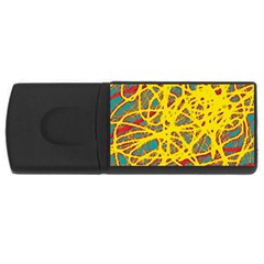 Yellow Neon Usb Flash Drive Rectangular (4 Gb)  by Valentinaart