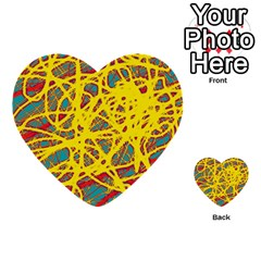 Yellow Neon Multi Purpose Cards (heart)  by Valentinaart