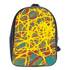 Yellow Neon School Bags(large)  by Valentinaart