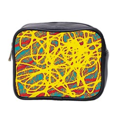 Yellow Neon Mini Toiletries Bag 2 Side by Valentinaart