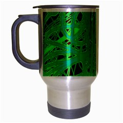 Green Neon Travel Mug (silver Gray) by Valentinaart