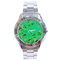 Green Neon Stainless Steel Analogue Watch by Valentinaart