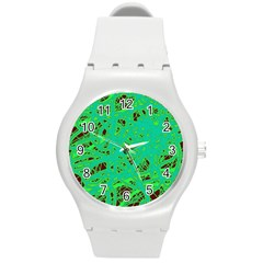 Green Neon Round Plastic Sport Watch (m) by Valentinaart