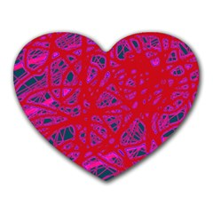 Red Neon Heart Mousepads by Valentinaart