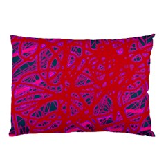 Red Neon Pillow Case (two Sides) by Valentinaart