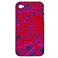 Red Neon Apple Iphone 4/4s Hardshell Case (pc+silicone) by Valentinaart