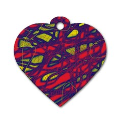 Abstract High Art Dog Tag Heart (one Side) by Valentinaart