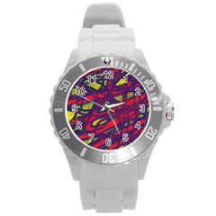 Abstract High Art Round Plastic Sport Watch (l) by Valentinaart