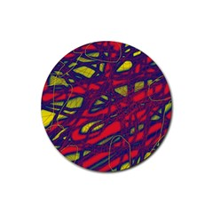 Abstract High Art Rubber Round Coaster (4 Pack)  by Valentinaart