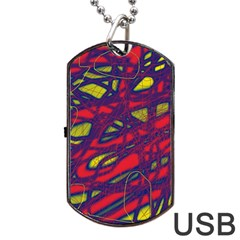 Abstract High Art Dog Tag Usb Flash (one Side) by Valentinaart