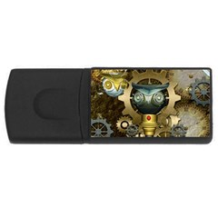 Steampunk, Awesome Owls With Clocks And Gears Usb Flash Drive Rectangular (4 Gb)  by FantasyWorld7