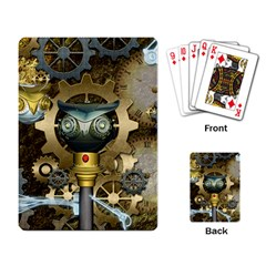 Steampunk, Awesome Owls With Clocks And Gears Playing Card by FantasyWorld7
