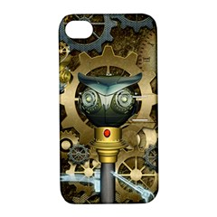 Steampunk, Awesome Owls With Clocks And Gears Apple Iphone 4/4s Hardshell Case With Stand by FantasyWorld7
