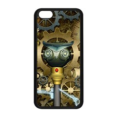 Steampunk, Awesome Owls With Clocks And Gears Apple Iphone 5c Seamless Case (black) by FantasyWorld7