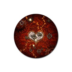 Steampunk, Wonderful Heart With Clocks And Gears On Red Background Rubber Coaster (round)