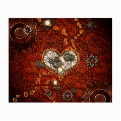 Steampunk, Wonderful Heart With Clocks And Gears On Red Background Small Glasses Cloth by FantasyWorld7