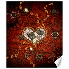 Steampunk, Wonderful Heart With Clocks And Gears On Red Background Canvas 20  X 24   by FantasyWorld7