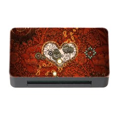 Steampunk, Wonderful Heart With Clocks And Gears On Red Background Memory Card Reader With Cf by FantasyWorld7