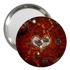 Steampunk, Wonderful Heart With Clocks And Gears On Red Background 3  Handbag Mirrors by FantasyWorld7
