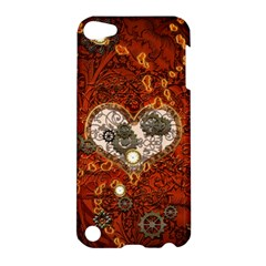 Steampunk, Wonderful Heart With Clocks And Gears On Red Background Apple Ipod Touch 5 Hardshell Case by FantasyWorld7