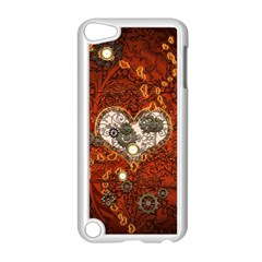 Steampunk, Wonderful Heart With Clocks And Gears On Red Background Apple Ipod Touch 5 Case (white) by FantasyWorld7