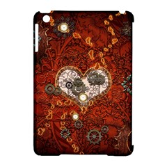 Steampunk, Wonderful Heart With Clocks And Gears On Red Background Apple Ipad Mini Hardshell Case (compatible With Smart Cover) by FantasyWorld7
